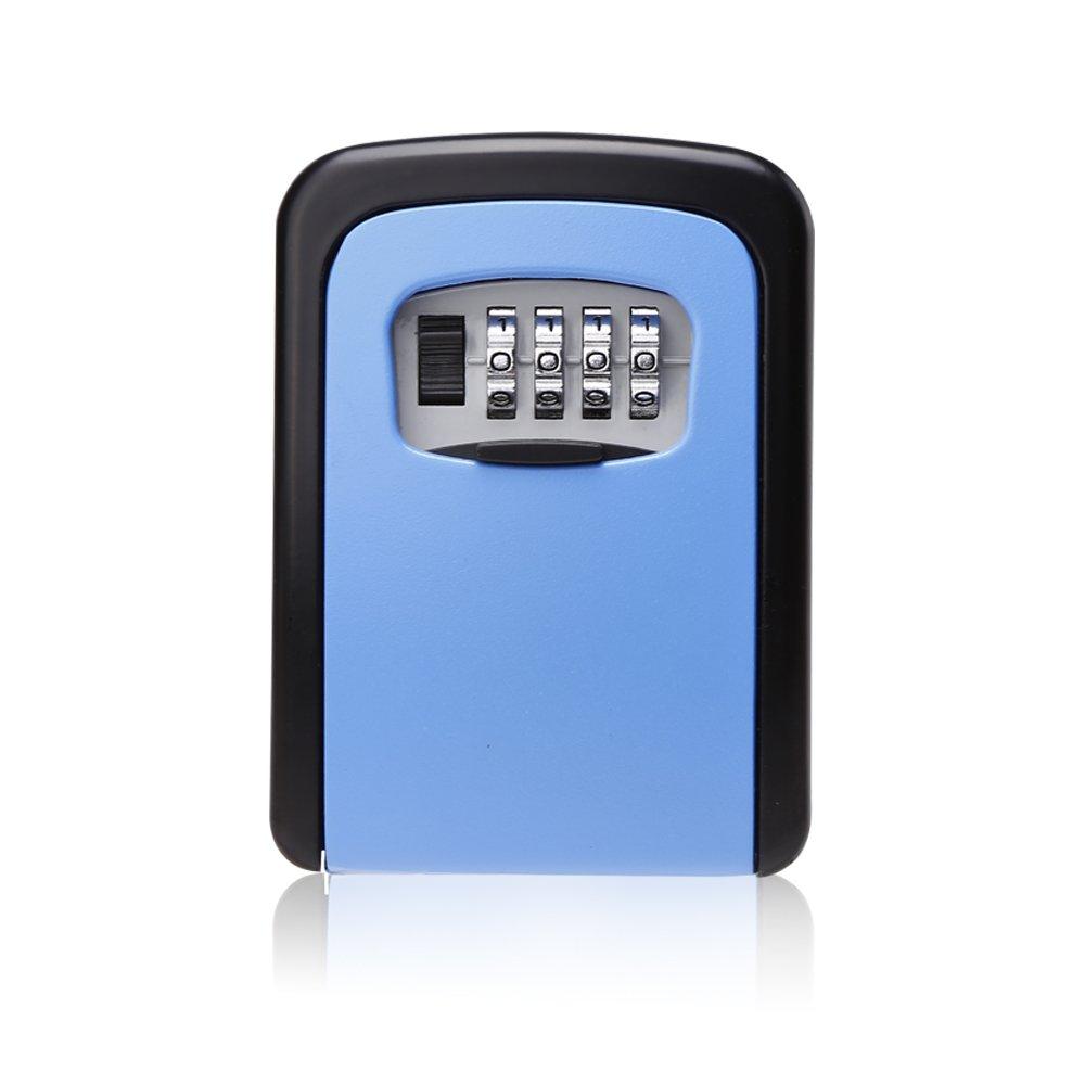 Code Lock Box, Key Lock Box 4 Digit Combination Wall Mounted Keys Storage Box, Blue
