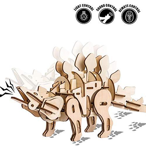 (ROKR R/C Stegosaurus - Robotic Dinosaur - Wood Model - 88 Pieces)