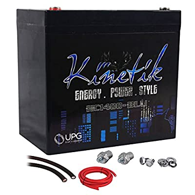 Kinetik HC1400-BLU Car Audio 1400 Watt Power Cell/Battery + Power/Ground Wires