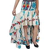 Mogul Interior Womens Skirt Recycled Sari Hi Low Ruffle Ruched Skirts