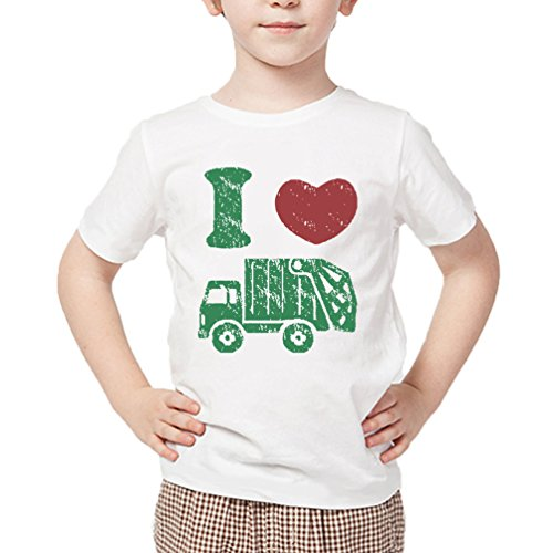 I Love Trash Garbage Trucks Toddler Boys Shirts Garbage Man Costume Kids Round Neck Tee 4t ()