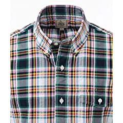 J. Press Seersucker Plaid Short Sleeve Button Down Shirt with Flap Pocket HHOVKM0419: Dark Green