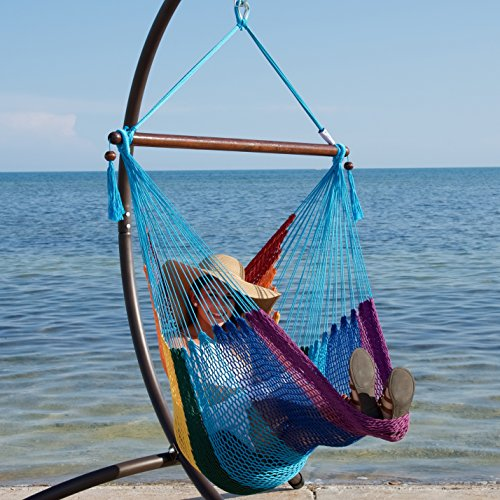 UPC 812281022295, Caribbean Hammock Chair with Footrest - 40 inch - Soft-spun Polyester - (Rainbow)
