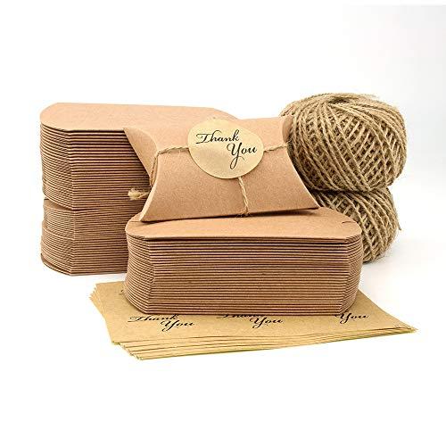 VEESUN Cajas de regalo pequeñas, 6x9cm Cajas de almohadas marrones Favor de la boda Caja de dulces de papel Kraft, para…