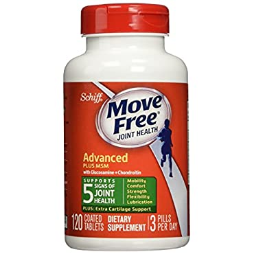 Move Free Advanced Plus MSM, 120 tablets Joint Health Supplement with Glucosamine and Chondroitin