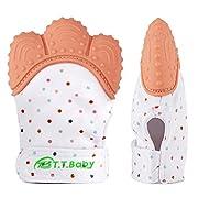 Baby Teething Mitten for Babies Self-Soothing Pain Relief and Teething Glove BPA FREE Safe Food Grade Teething Mitt (1-pack,Orange)