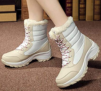bd52d704362b9 Image Unavailable. Image not available for. Color: HuWang Ankle Boots Women  Winter Waterproof Snow Shoes 2018 Fashion Warm Plush Winte ...