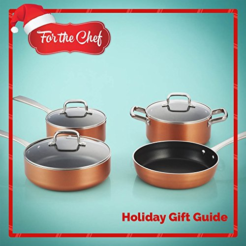 FortheChef 7 Piece Stamped Aluminum Non-Stick Cookware Set