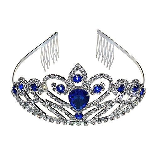 Wedding Prom Bridal Crown Rhinestone Crystal Tiara Princess Headpieces Girls Tiara Accessory With Comb (Silver & Blue)