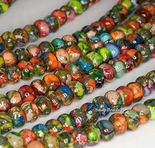 6X4MM Rainbow Imperial Jasper Gemstone Grade AA RONDELLE 6X4MM Loose Beads 16