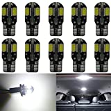 10-Pack 194 White Canbus Error Free LED Light 12V,400Lum 6000k AMAZENAR Car Interior and Exterior T10 8-SMD 5730 Chips Replacement For W5W 168 2825 Map- Dome- Courtesy- License Plate Side Marker Light