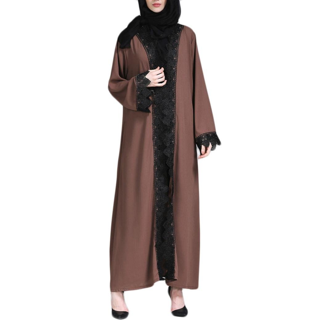 Rucan Women Muslim Kimono Islamic Lace Splicing Long Coat Middle East Long Robe (Coffee, Medium) by Rucan