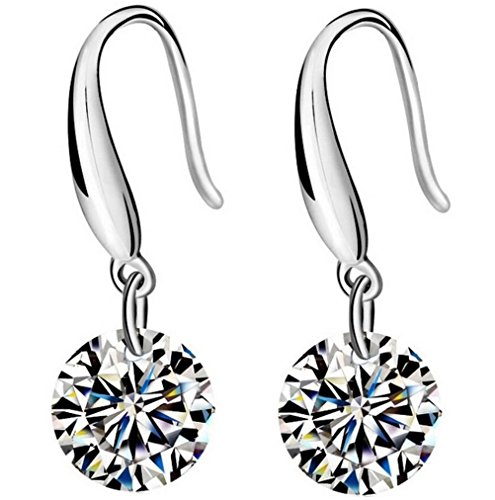 AMBESTEE Sterling Silver Plated Crystal Cubic Inlay Zirconia Drop Dangle Studs Earrings Set Cubic Drop