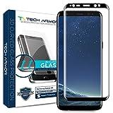 Tech Armor Samsung Galaxy S8 Premium 3D-Edge HD Clear Ballistic Glass Screen Protector (Black) [1-Pack]