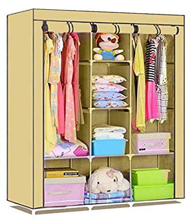 Unique Gadget Fancy & Portable Fabric Collapsible Foldable Clothes Closet Wardrobe Storage Rack�