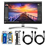 LG 27' 4K Ultra HD IPS LED-lit Computer Monitor (27UD88-W) with Complete Hook-Up Bundle