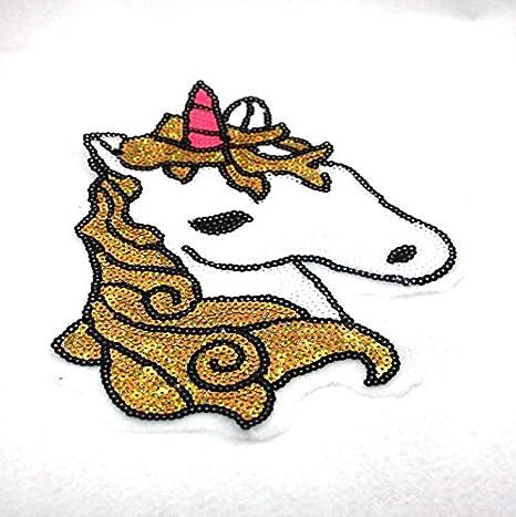 Gran parche unicornio de lentejuelas para cazadoras niñas, camisetas, mochilas,vestidos, costura