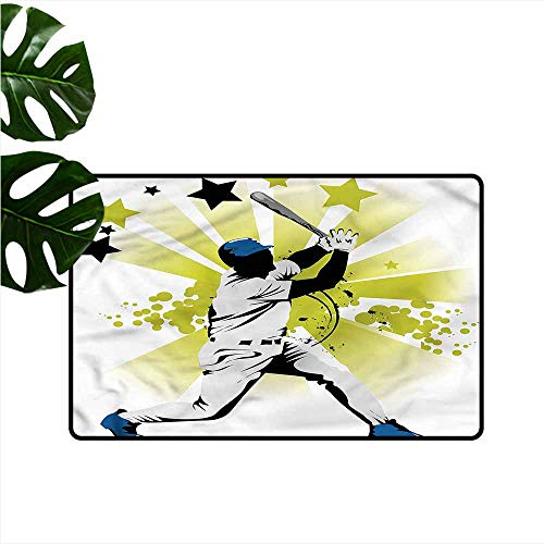 (Outdoor Door mat Baseball Pitcher Hits The Ball Machine wash/Non-Slip W35 xL59)