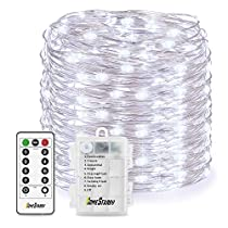 Homestarry LED String Lights, Battery Powered Cool White String Lights with Remote