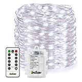 Homestarry LED String Lights,Battery Powered Cool White String Lights With Remote,132leds Indoor Decorative Silver Wire Lights for Bedroom ,Patio,Outdoor Garden,Stroller,Christmas Tree.(33ft)