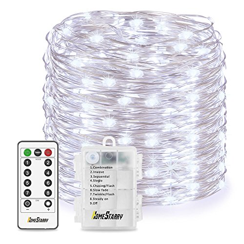 Homestarry LED String Lights,Battery Powered Cool White String Lights With Remote,132leds Indoor Decorative Silver Wire Lights for Bedroom,Patio,Outdoor Garden,Stroller,Christmas Tree.(33ft)