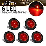 Partsam 1-5/16'' Inch Grommet Mount Red LED Clearance Mini Marker lights 6-2835SMD, Universal Waterproof Side Led Marker for Truck Boat SUV ATV Bike Trailer Marine(Pack of 5)