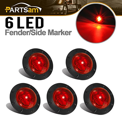 Partsam 1-5/16'' Inch Grommet Mount Red LED Clearance Mini Marker lights 6-2835SMD, Universal Waterproof Side Led Marker for Truck Boat SUV ATV Bike Trailer Marine(Pack of 5) by Partsam