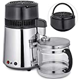 Vevor Countertop Water Distiller 750W Stainless Steel Purifier Filter with Handle 1.1 Gal 4L Glass Container Perfect for Home Use, Sliver