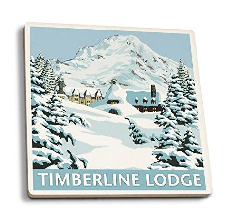 Mt. Hood, Oregon - Timberline Lodge Winter Scene (Set of 4 Ceramic Coasters - Cork-Backed, ()