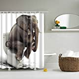 BIOSTON Elephant Shower Curtain Digital Printing Anti Bacterial Waterproof Polyester Bath Decorations for Kids with Hooks,70.86×70.86 Inch