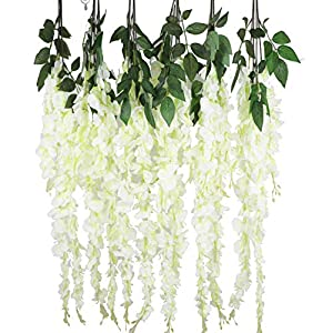 Anlise Artificial Silk Wisteria Vine Ratta Fake Hanging Garland Flowers for Home Wedding Party Decor, Pack of 6 1