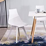 YIMIGA Mid-Century Dining Chair (Set of 4) – Modern Home Eames Style Armless Chairs, White Plastic Seat, Back and Legs for Dining Room, Kitchen, Bedroom, Lounge