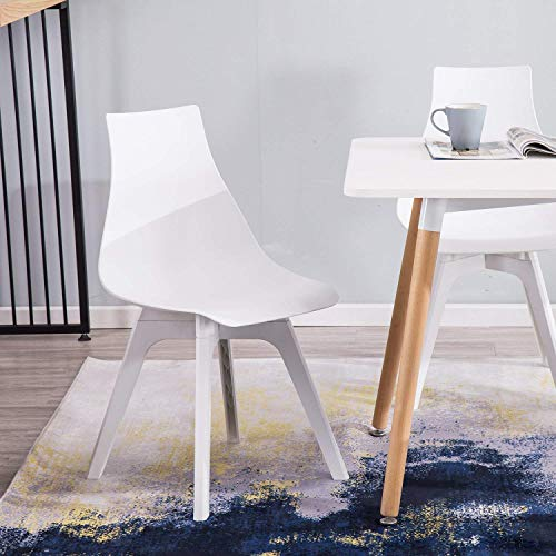 YIMIGA Mid-Century Dining Chair (Set of 4) - Modern Home Eames Style Armless Chairs, White Plastic Seat, Back and Legs for Dining Room, Kitchen, Bedroom, Lounge