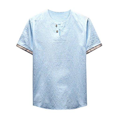 iLXHD Men's Summer Casual Linen and Cotton Short Sleeve V-Neck T-Shirt Blouse (2XL, Sky Blue)
