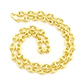 Men's Solid 14k Yellow Gold 6.9mm Puffed Mariner Chain Necklace, 24''