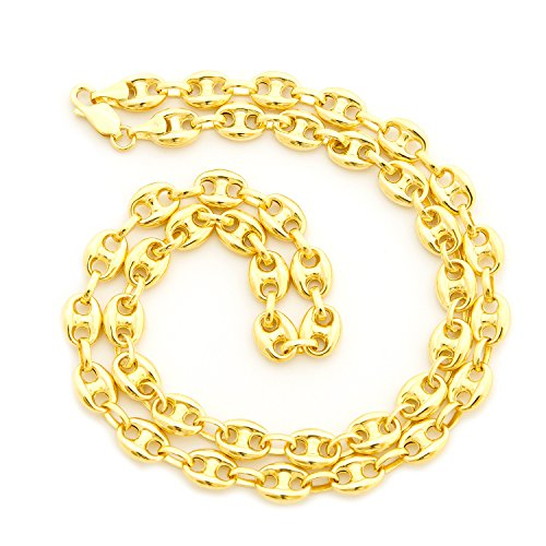 Men's Solid 14k Yellow Gold 6.9mm Puffed Mariner Chain Necklace, 24'' by Beauniq