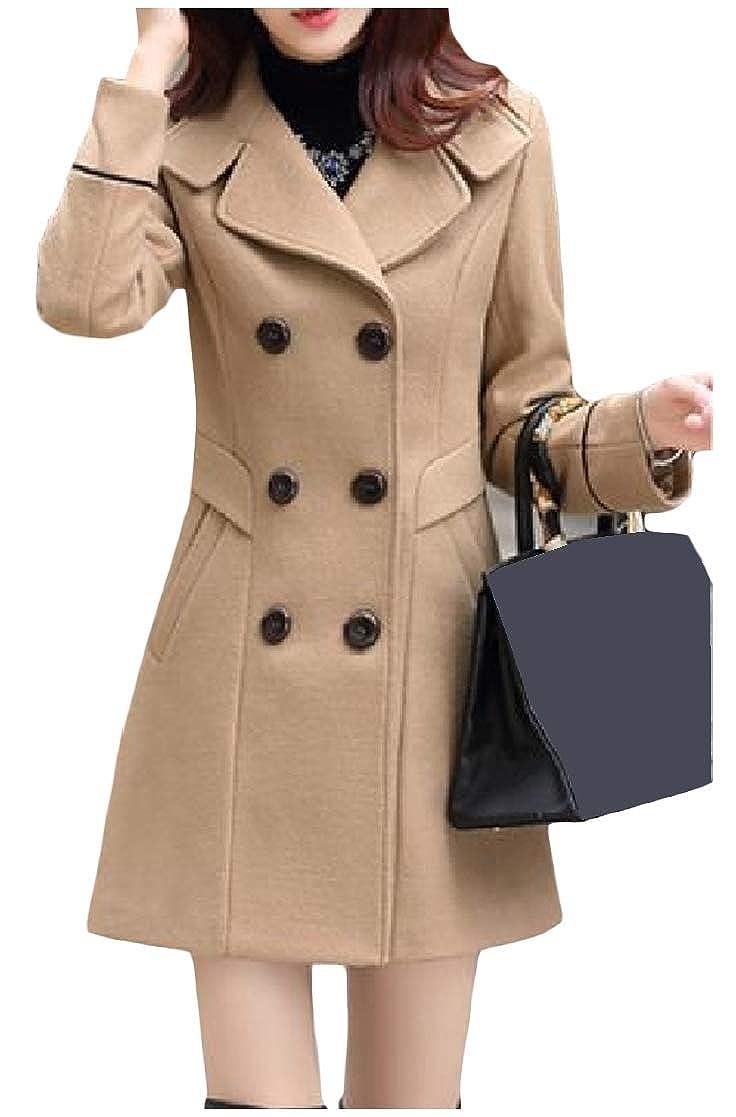 YUNY Women Woolen Fall Winter Double-Breasted Silm Fit OL Suit Jacket Khaki S