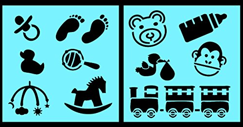 Stork Baby Paint - Auto Vynamics - STENCIL-BABYSET01-10 - Detailed Baby Toddler Children Stencil Set - Includes Stork, Train, Teddy Bear, & More! - 10-by-10-inch Sheet - (2) Piece Kit - Pair of Sheets