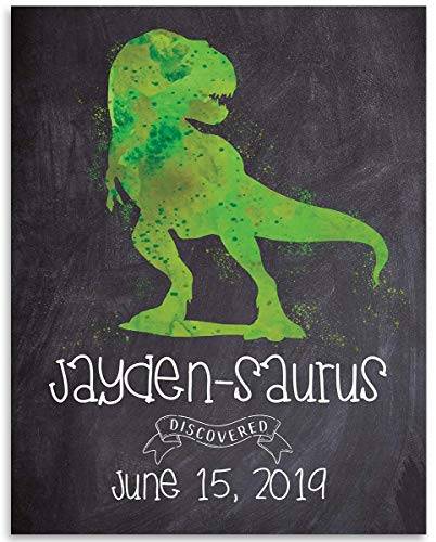 Saura Print - Name-A-Sauras Personalized Dinosaur Sign - 11x14 Unframed Art Print - Makes a Great Personalized Nursery Room Decor