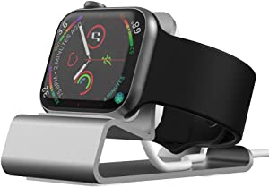 Sincetop Apple Watch Charger Stand, Aluminum iWatch 44 40 42 38 mm Charging Holder Dock Station Supports Nightstand Mode for Apple Watch Series SE/6/5/4/3/2/1【Magnetic Charger not Included】-Silver
