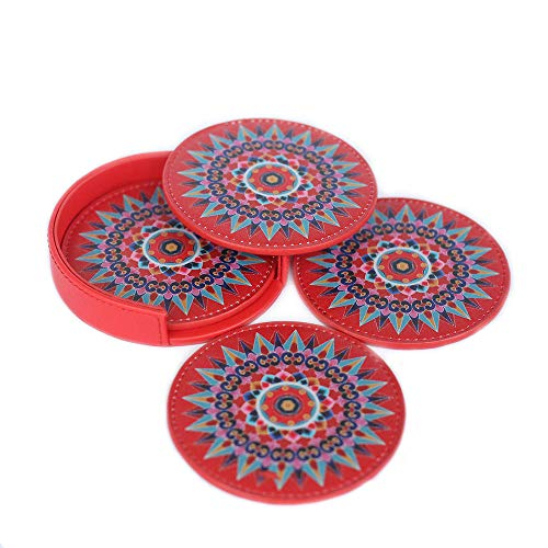 (Leather Coaster Oxcart Wheel (Red) Set of 4 with Holder Protects Furniture from Water Spills, Wine, Coffee)