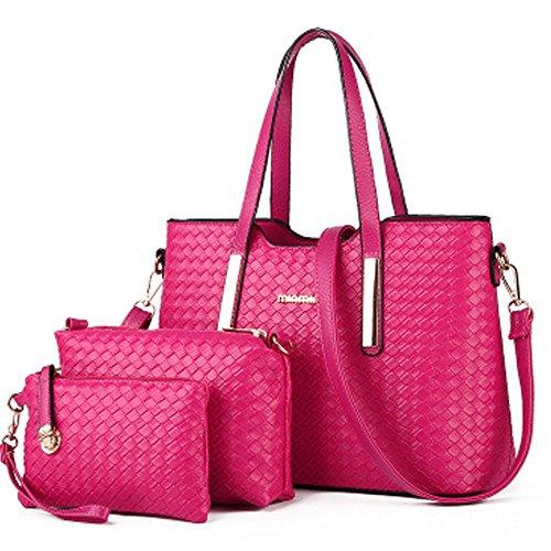 Vincico174;Women 3 Piece Tote Bag Pu Leather Weave Handbag Shoulder Purse Bags (Red)