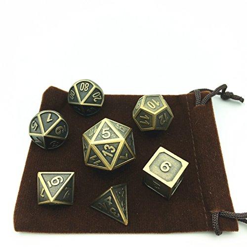 - Momostar Polyhedral Metal Dice , Set of 7 for RPG D&D or Math Teaching (Ridge Ancient Gold)