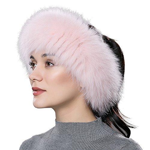 ENJOYFUR Women Headband Fox Fur Headband Winter Earwarmer Earmuff (Pink)