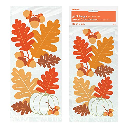 Unique Fall Leaves Cellophane Bags | 20 Count | Autumn, Fall, Thanksgiving and Halloween Party Favor Gift Bag -