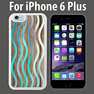 Turquoise Wave Wood Custom Case/ Cover/Skin *NEW* Case for Apple iPhone 6 PLUS - White - Rubber Case (Ships from CA) Custom Protective Case , Design Case-ATT Verizon T-mobile Sprint ,Friendly Packaging - Slim Case