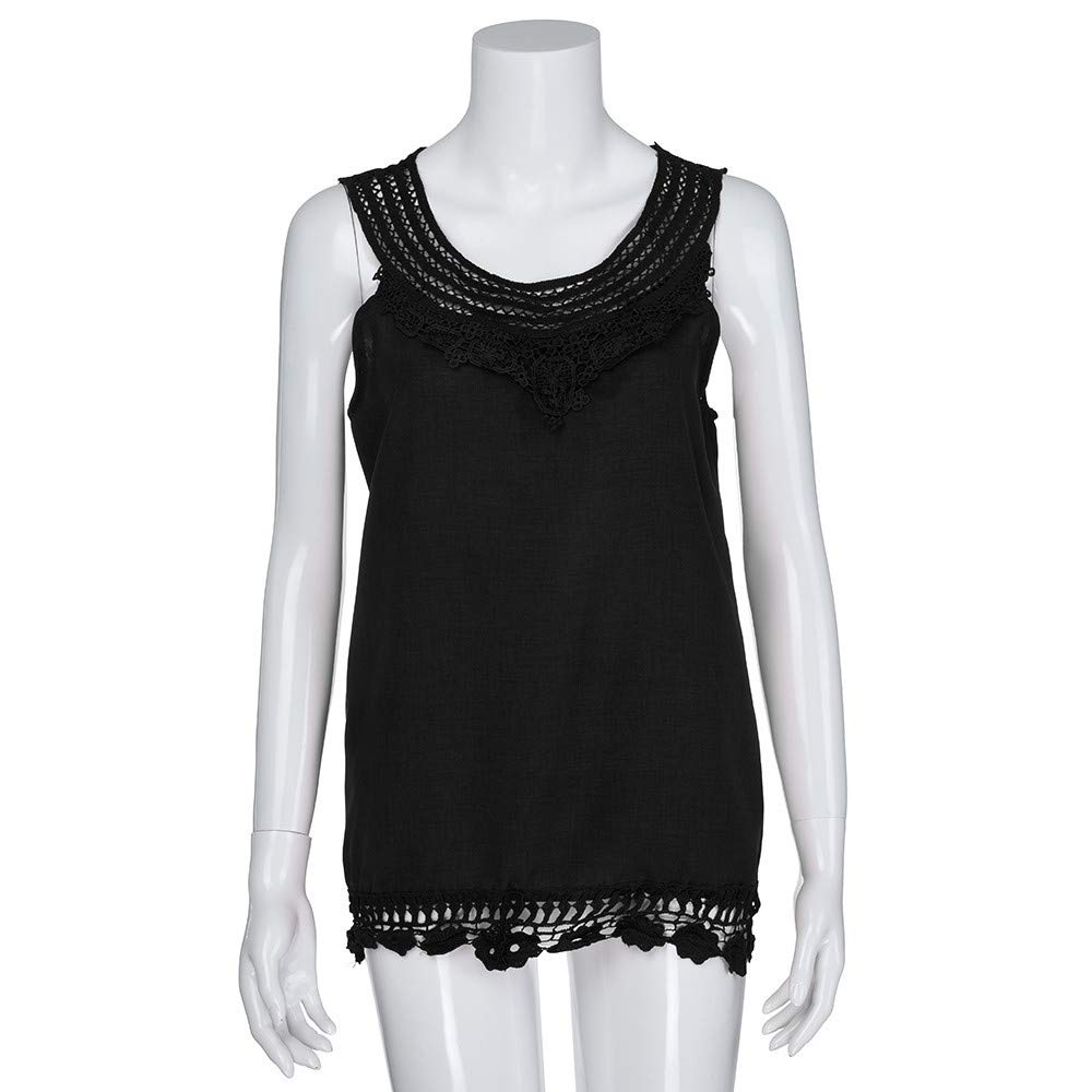 Vectry Women O-Neck Sleeveless Pure Color Lace Plus Size Vest Tops Loose T-Shirt Blouse