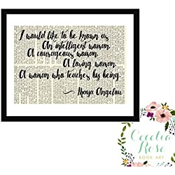 I would like to be know as a woman who teaches by being Maya Angelou Farmhouse Inspirational Quote Upcycled Vintage Book Page Unframed
