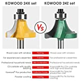 KOWOOD Pro Router Bits Sets of 24Z Pieces 1/4 Inch