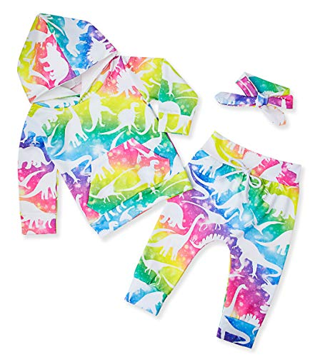 Baby Girl Clothes 80S Hoodie Pant Outfit Long Sleeve Tops 90S Newborn Infant Rainbow Dinosaur Sweatshirt Kangaroo Pocket and Legging Sets with Headband 3 Pcs Suit Colorful 0-6 Months